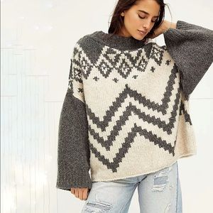 NEW Free People Nordic Striped Oversized Sweater S